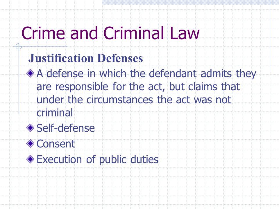 Crime and Criminal Law Justification Defenses