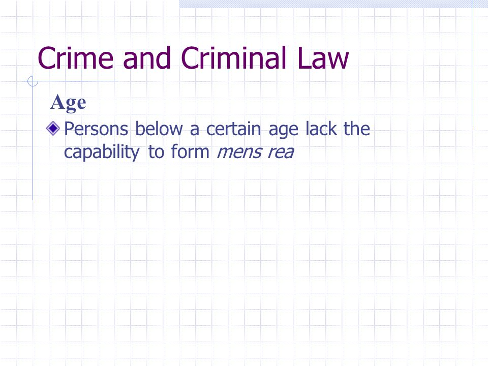 Crime and Criminal Law Age