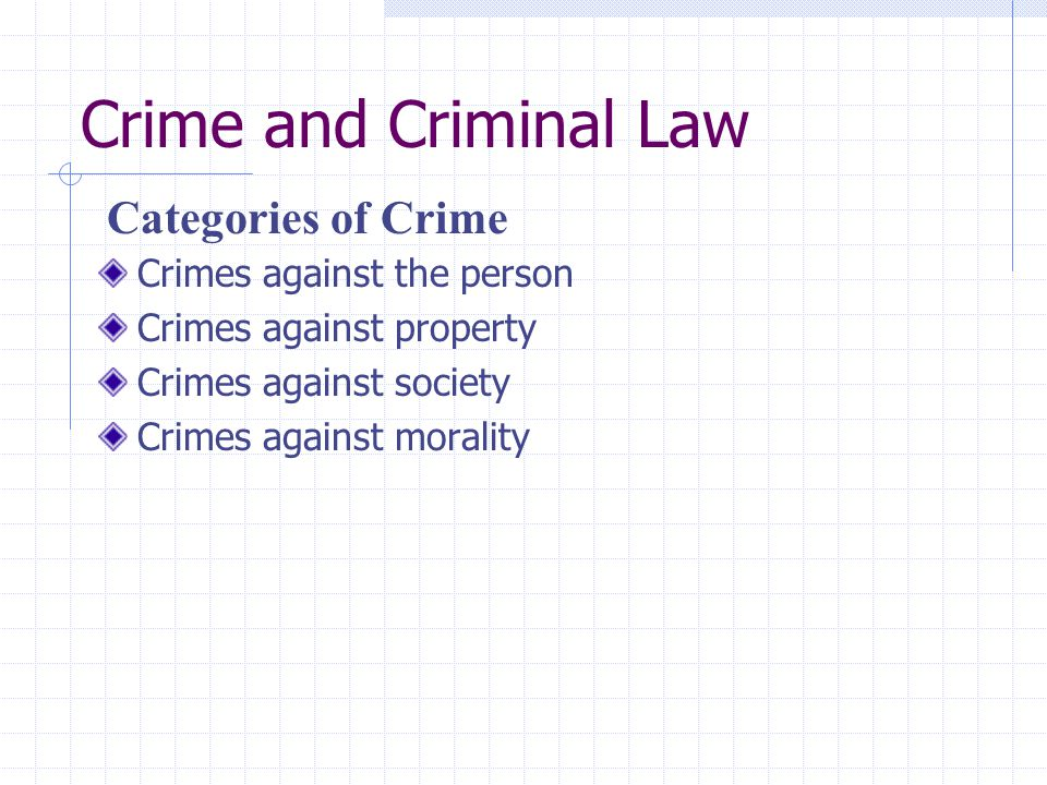 Crime and Criminal Law Categories of Crime Crimes against the person