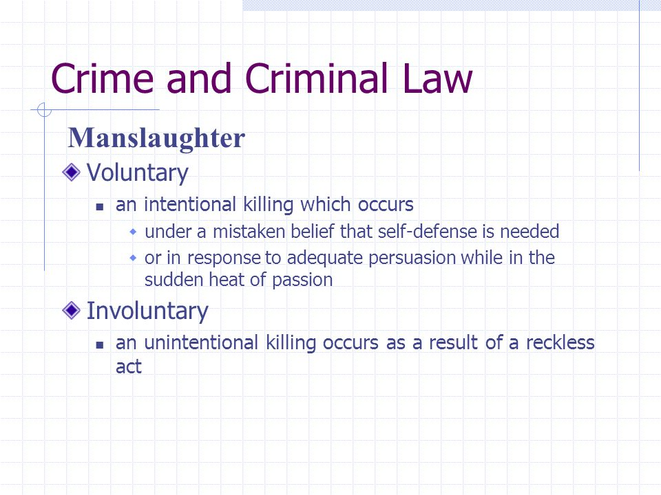 Crime and Criminal Law Manslaughter Voluntary Involuntary