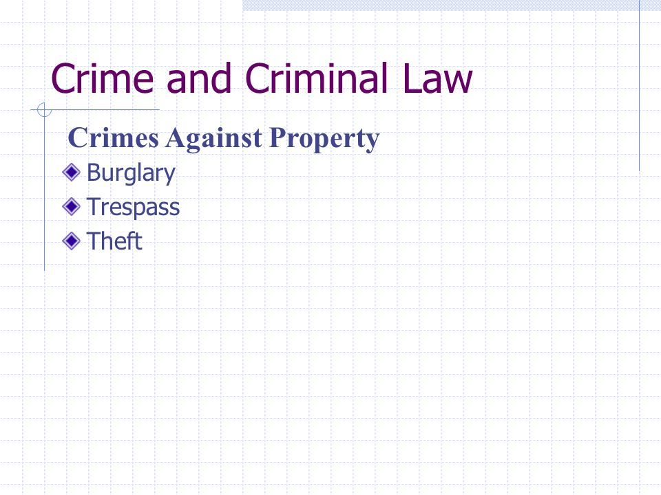 Crime and Criminal Law Crimes Against Property Burglary Trespass Theft
