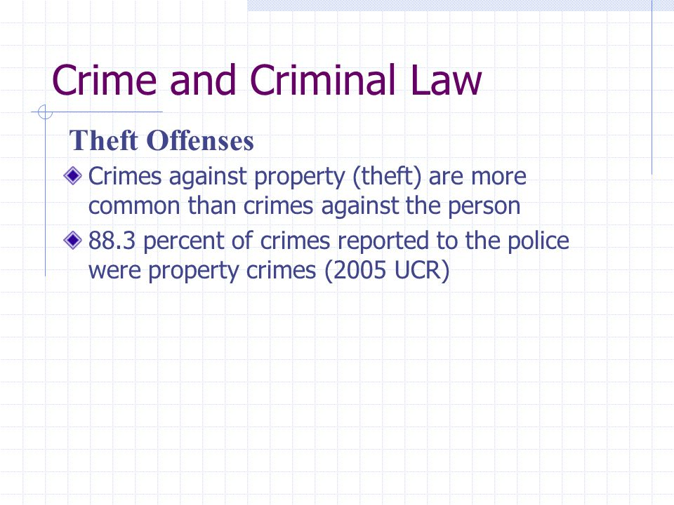 Crime and Criminal Law Theft Offenses