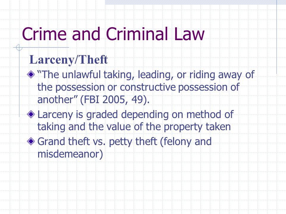 Crime and Criminal Law Larceny/Theft