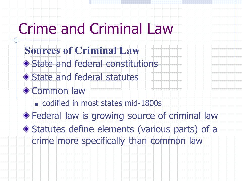 Crime and Criminal Law Sources of Criminal Law