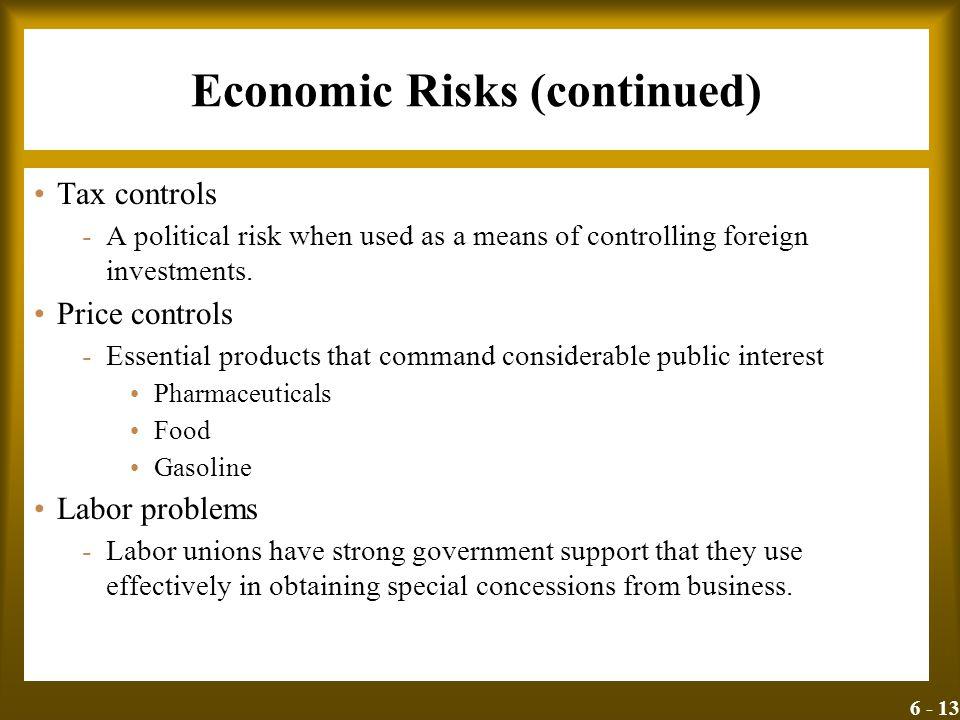 Economic Risks (continued)