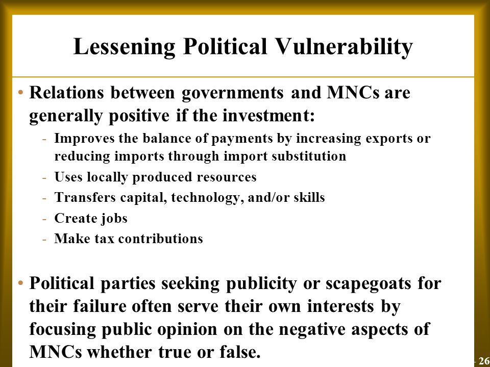 Lessening Political Vulnerability