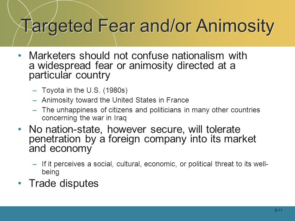 Targeted Fear and/or Animosity