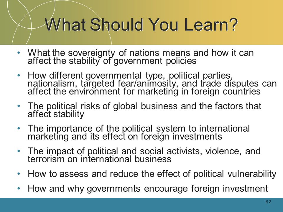 What Should You Learn What the sovereignty of nations means and how it can affect the stability of government policies.