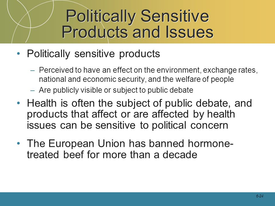 Politically Sensitive Products and Issues