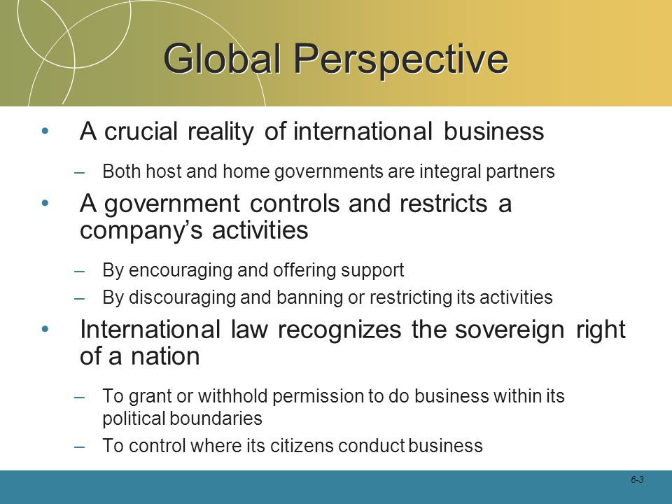 Global Perspective A crucial reality of international business