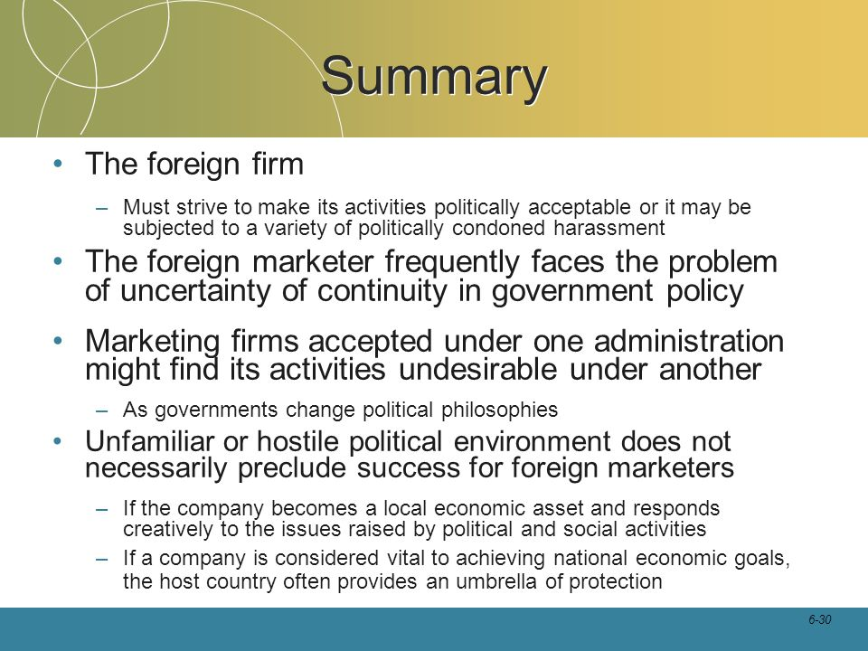 Summary The foreign firm