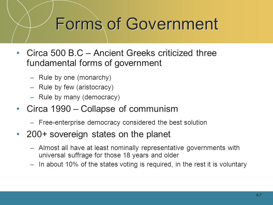 Forms of Government Circa 500 B.C – Ancient Greeks criticized three fundamental forms of government.