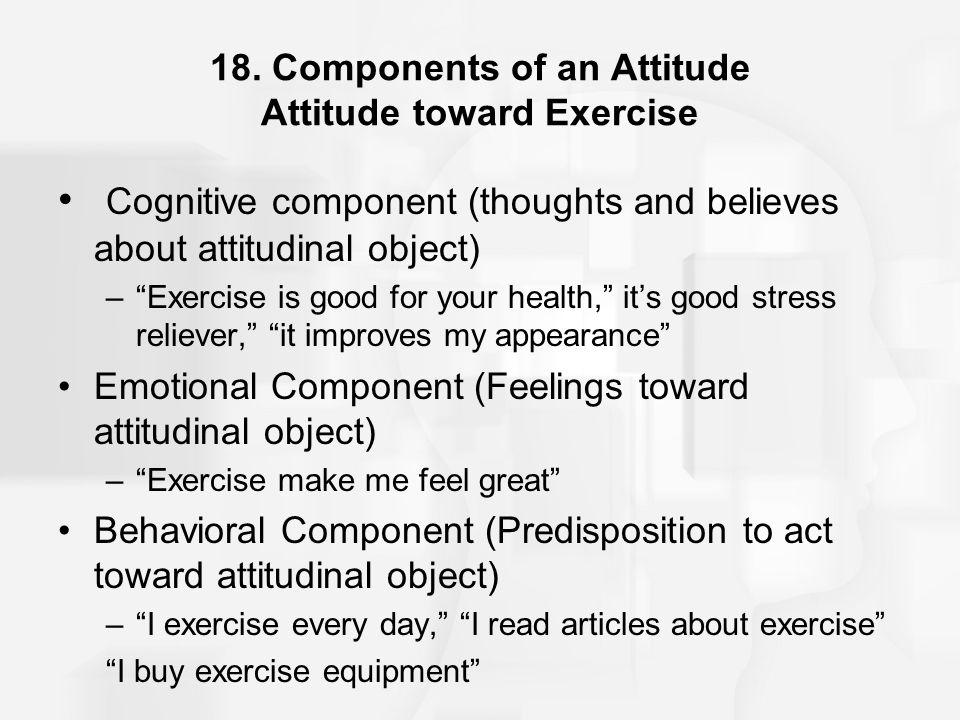 18. Components of an Attitude Attitude toward Exercise