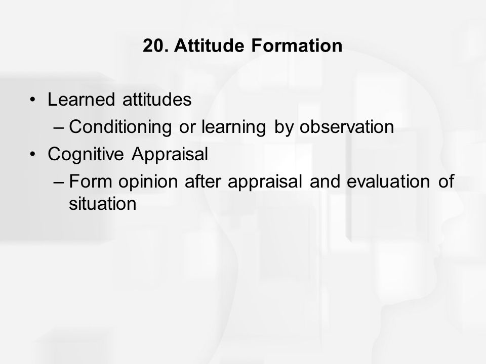 20. Attitude Formation Learned attitudes. Conditioning or learning by observation. Cognitive Appraisal.
