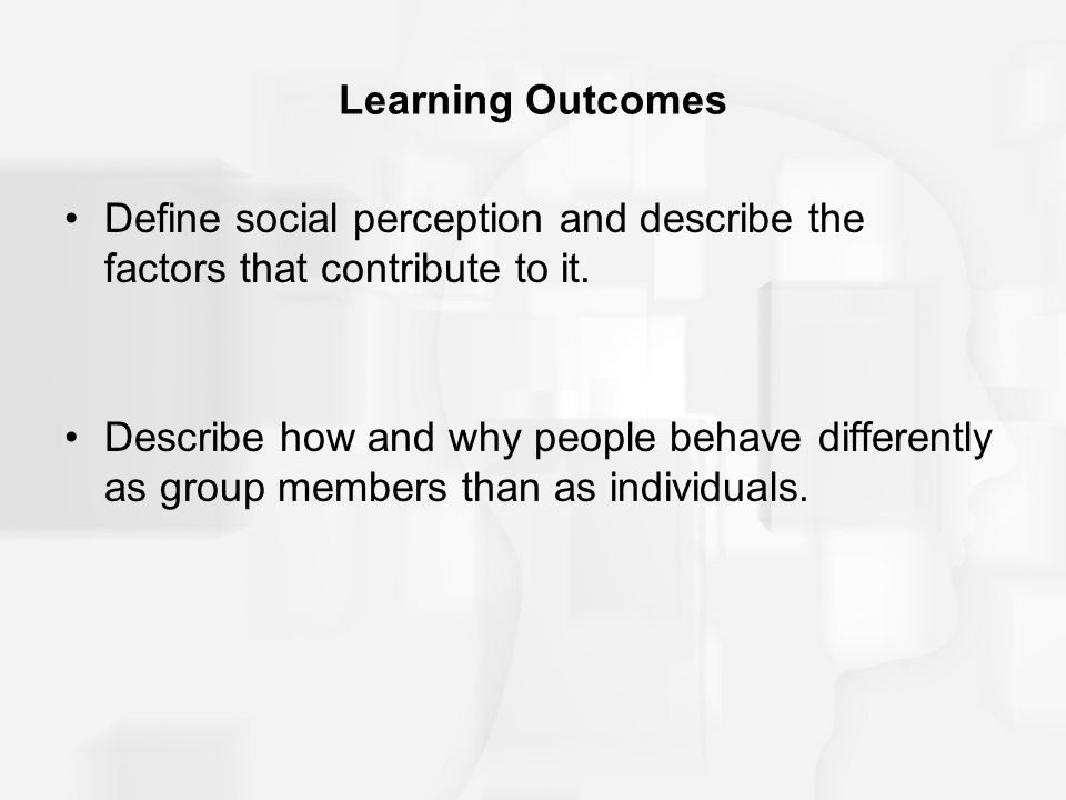 Learning Outcomes Define social perception and describe the factors that contribute to it.