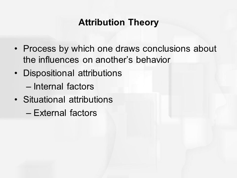Attribution Theory Process by which one draws conclusions about the influences on another's behavior.
