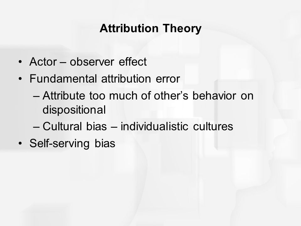 Actor – observer effect Fundamental attribution error