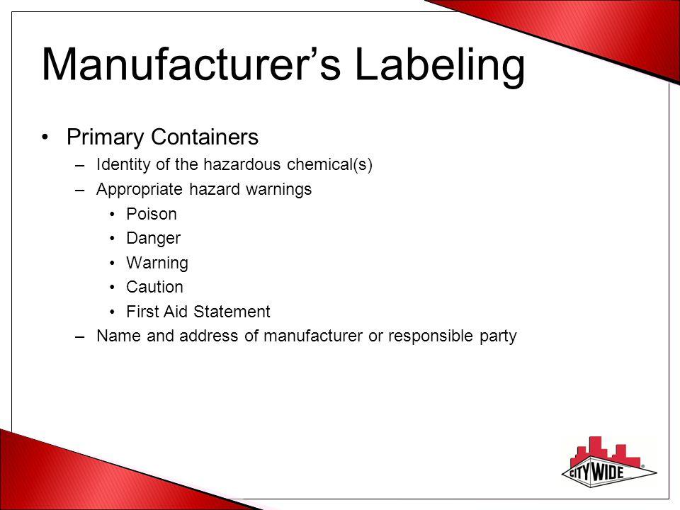Manufacturer's Labeling