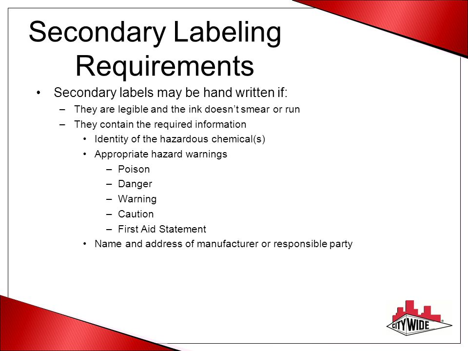 Secondary Labeling Requirements