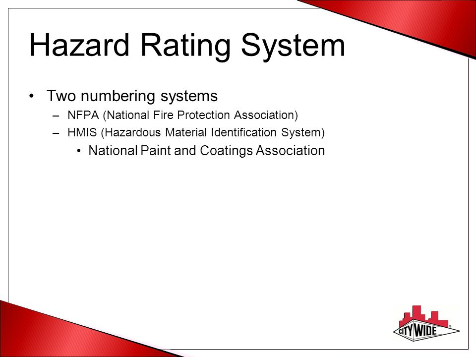 Hazard Rating System Two numbering systems