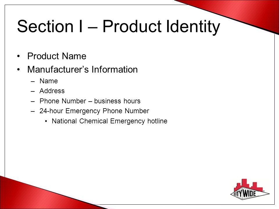 Section I – Product Identity