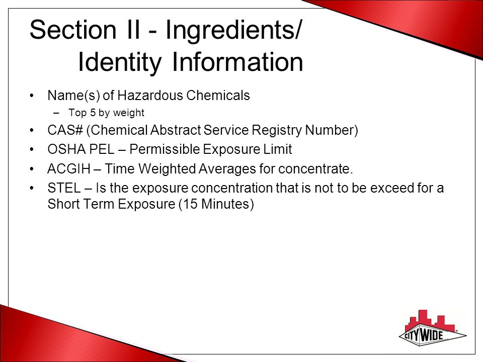 Section II - Ingredients/ Identity Information