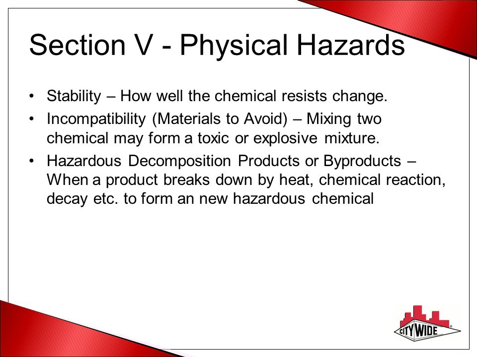 Section V - Physical Hazards