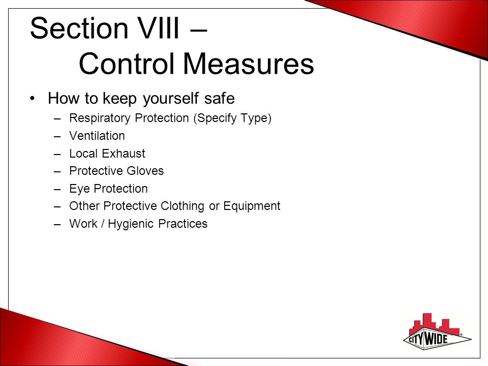 Section VIII – Control Measures