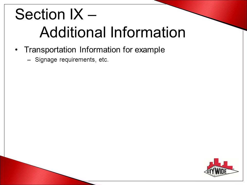 Section IX – Additional Information