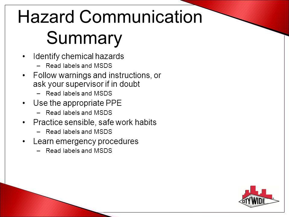 Hazard Communication Summary