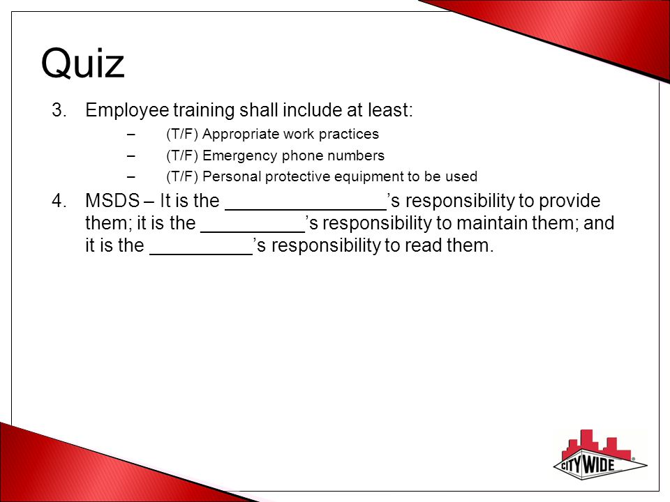 Quiz Employee training shall include at least: