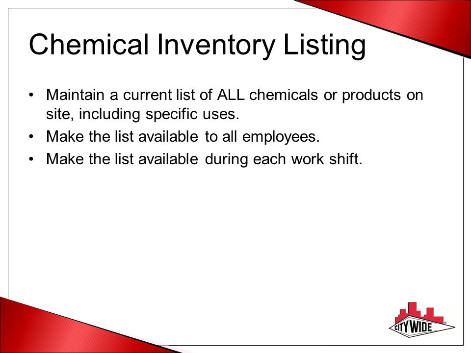 Chemical Inventory Listing