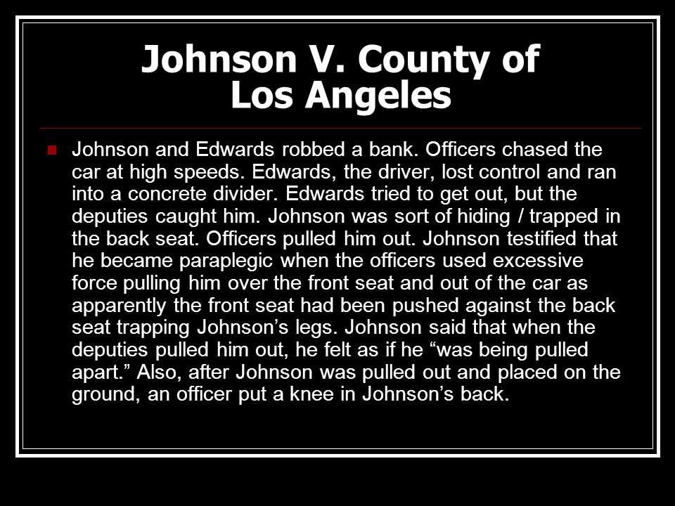 Johnson V. County of Los Angeles