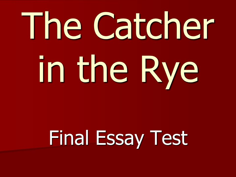 The Catcher in the Rye Final Essay Test