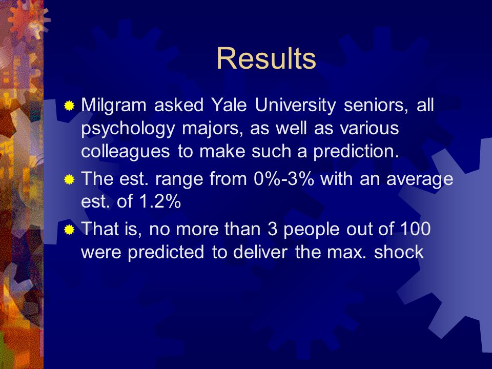 Results Milgram asked Yale University seniors, all psychology majors, as well as various colleagues to make such a prediction.