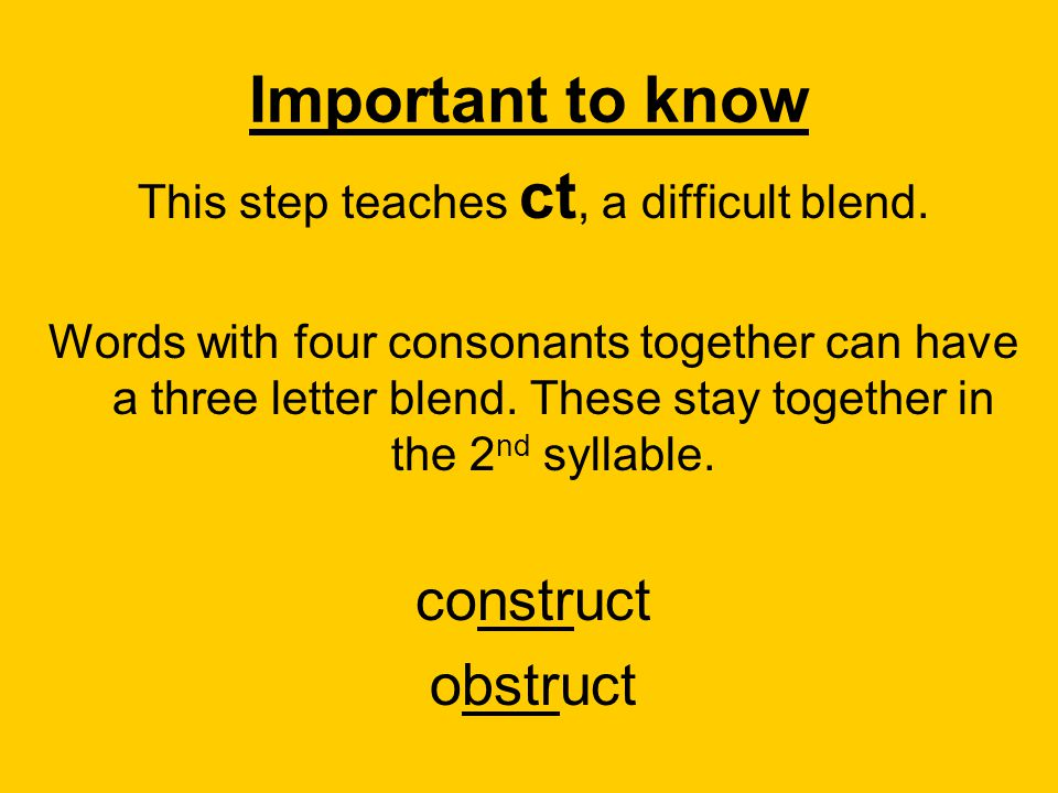 This step teaches ct, a difficult blend.