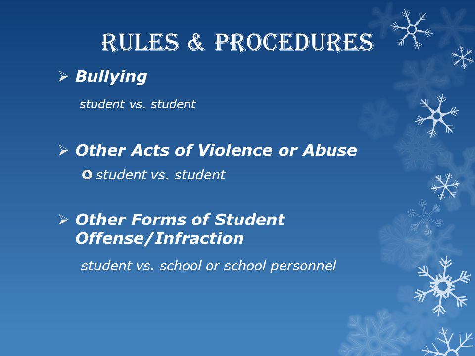 RULES & PROCEDURES Bullying student vs. student