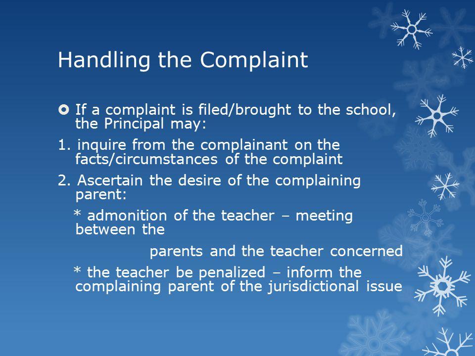 Handling the Complaint