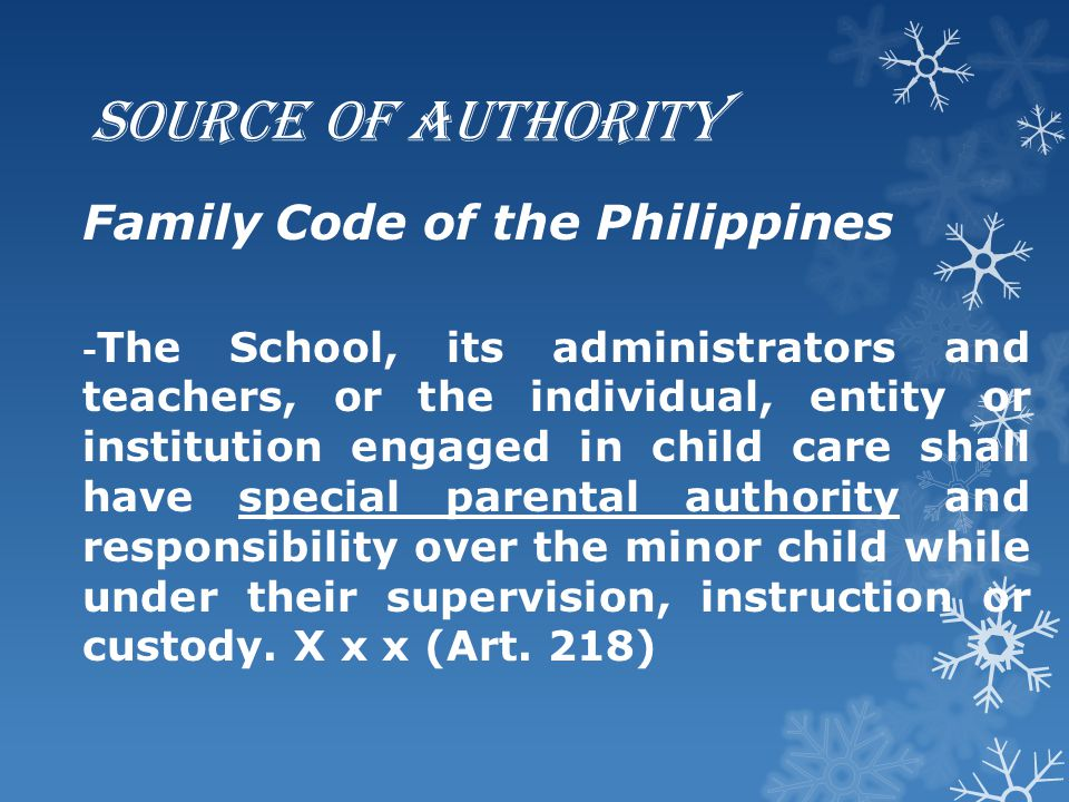 Source of Authority Family Code of the Philippines