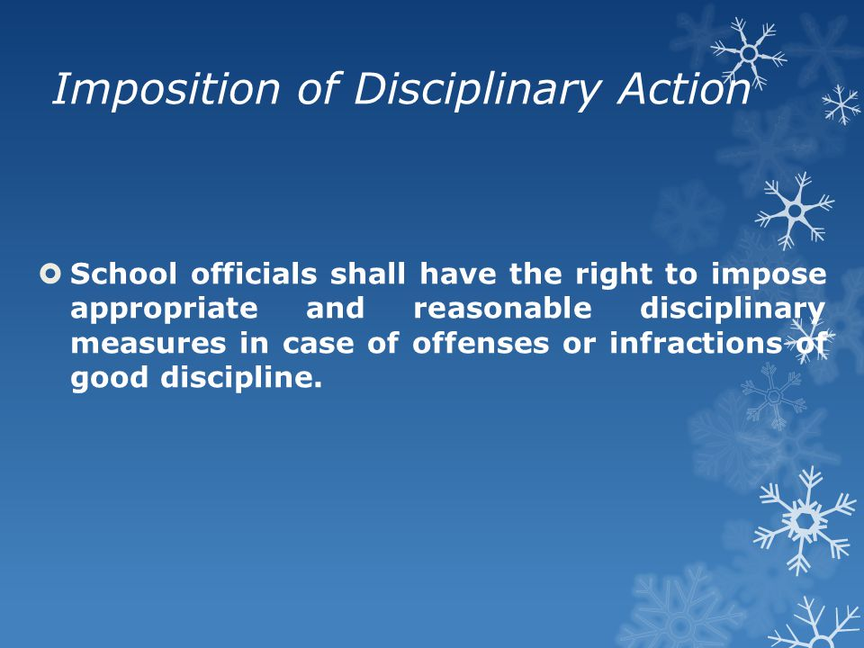 Imposition of Disciplinary Action