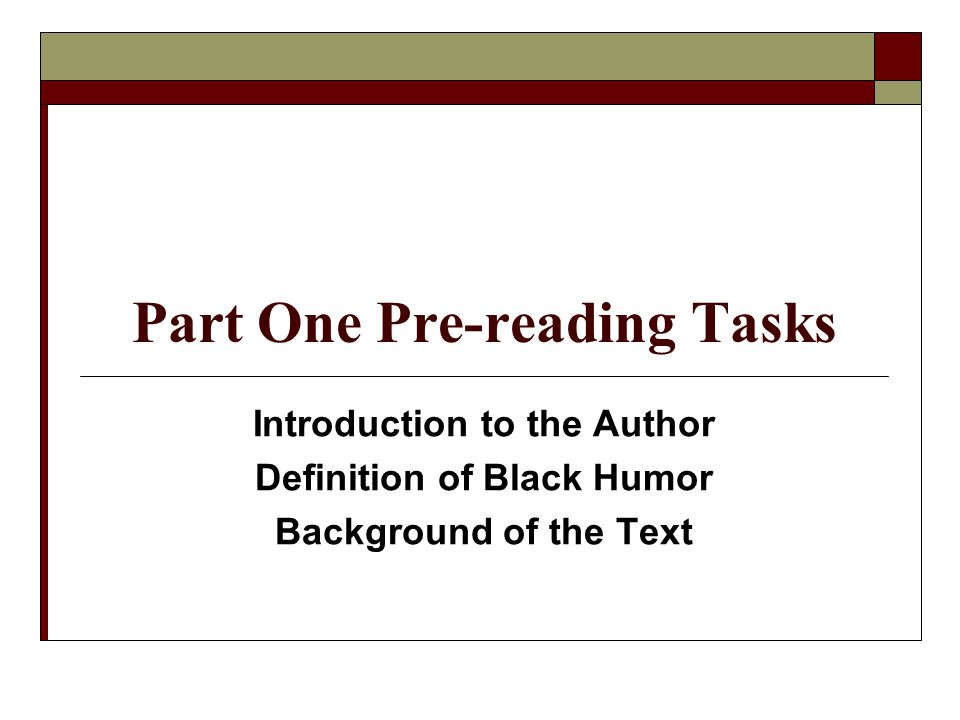 Part One Pre-reading Tasks
