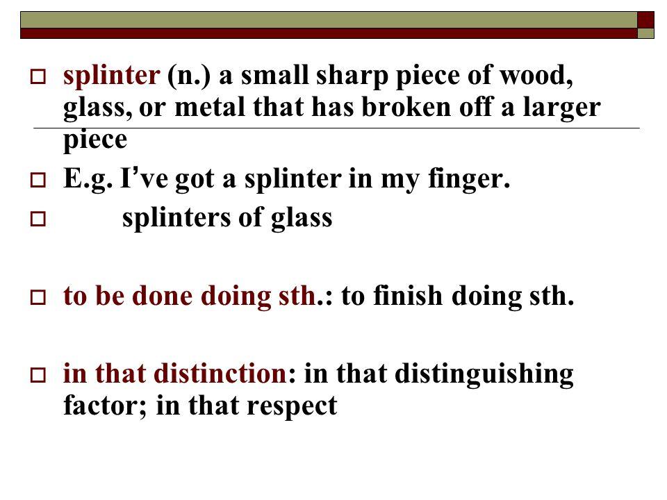 splinter (n.) a small sharp piece of wood, glass, or metal that has broken off a larger piece