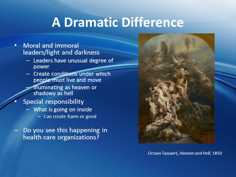 A Dramatic Difference Moral and immoral leaders/light and darkness