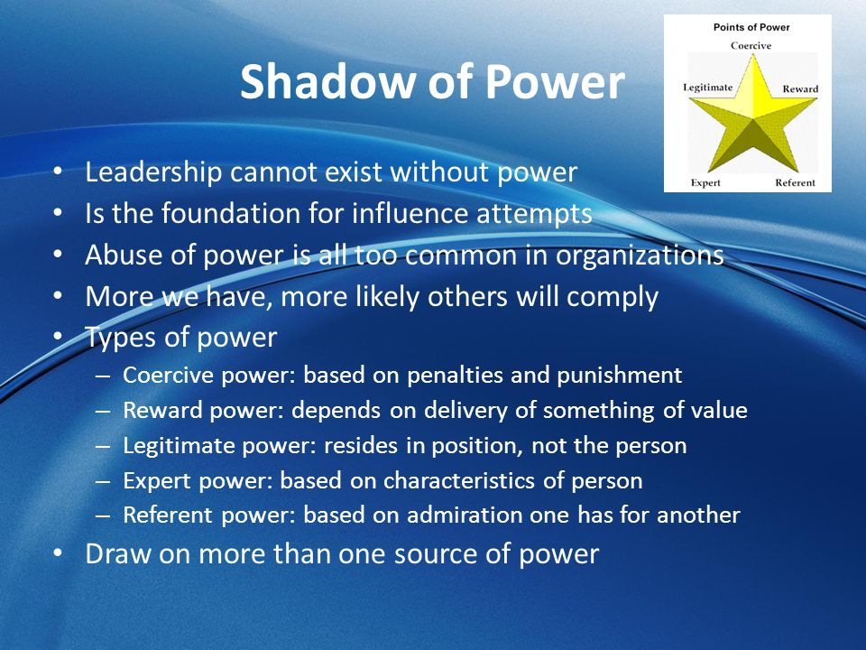 Shadow of Power Leadership cannot exist without power