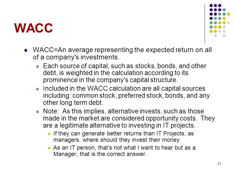 WACC WACC=An average representing the expected return on all of a company s investments.