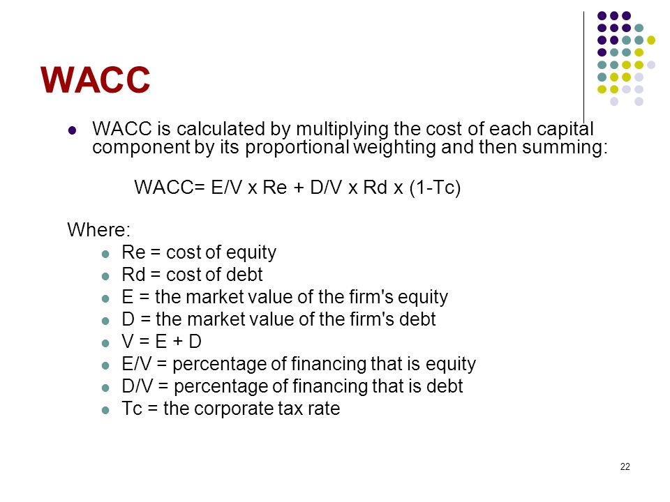 WACC WACC is calculated by multiplying the cost of each capital component by its proportional weighting and then summing: