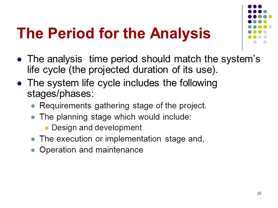 The Period for the Analysis