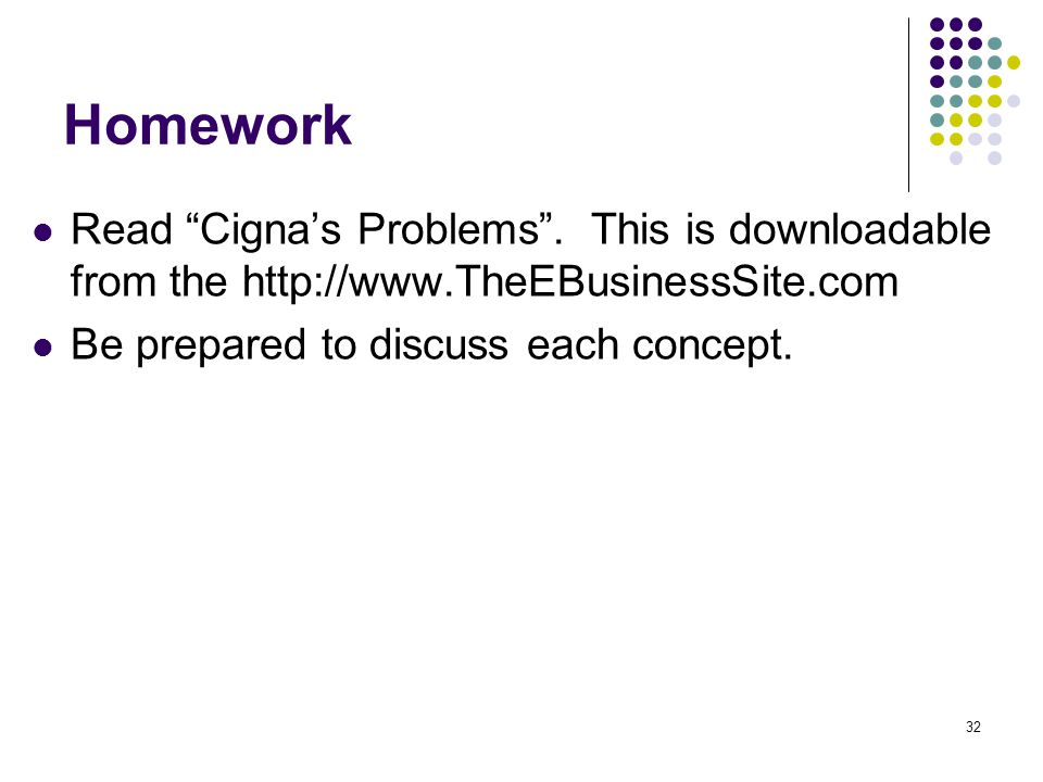 Homework Read Cigna's Problems . This is downloadable from the http://www.TheEBusinessSite.com.
