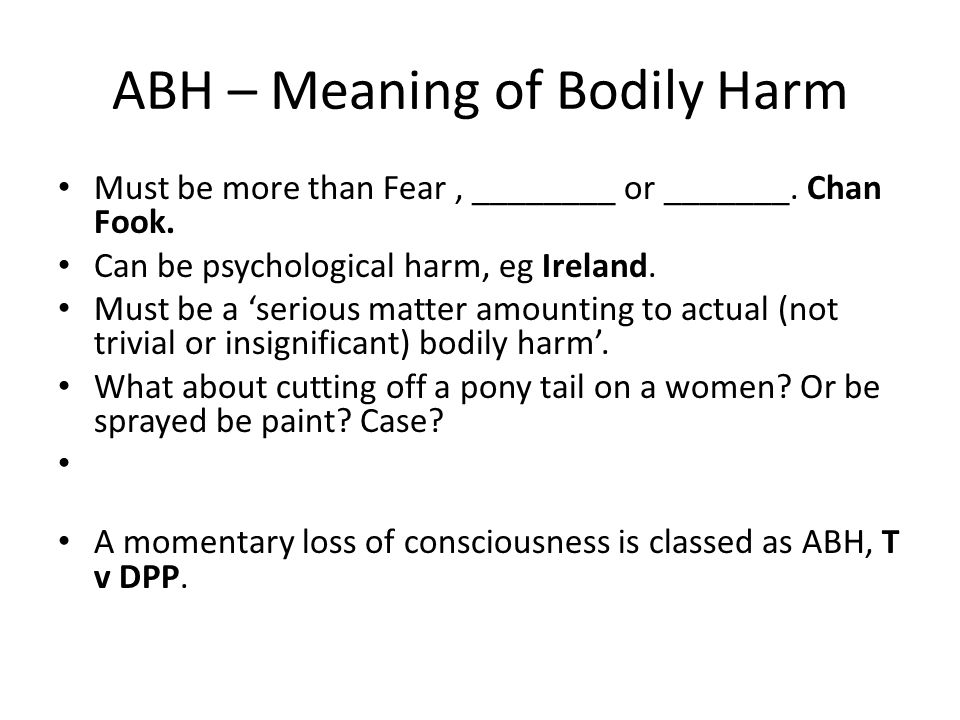 ABH – Meaning of Bodily Harm