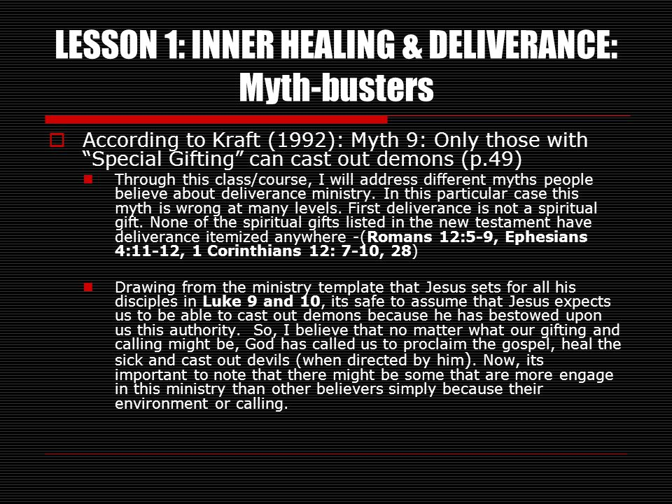 LESSON 1: INNER HEALING & DELIVERANCE: Myth-busters